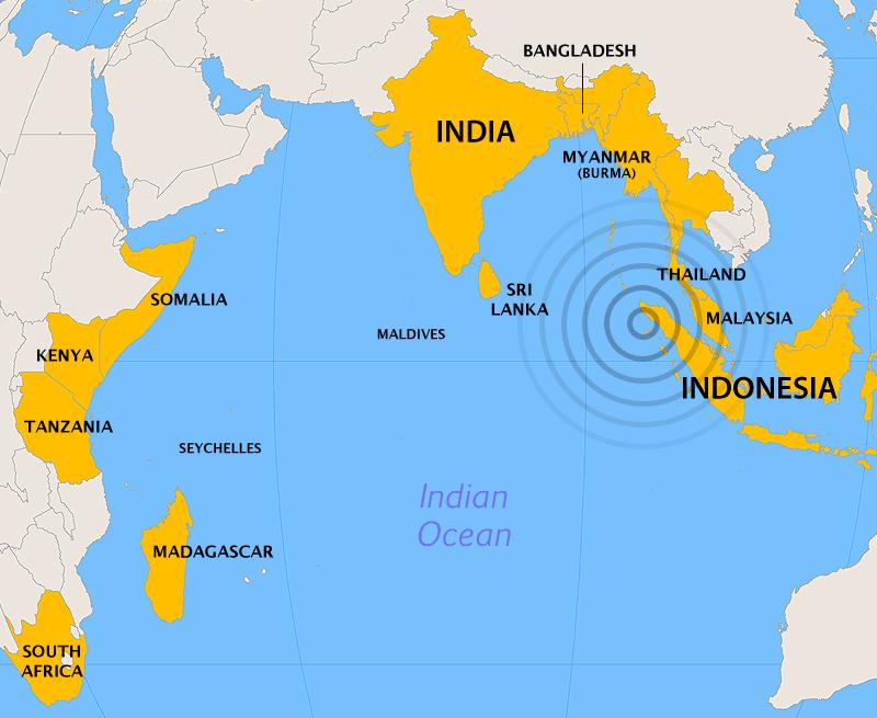 2004 Indian Ocean Earthquake and Tsunami Map